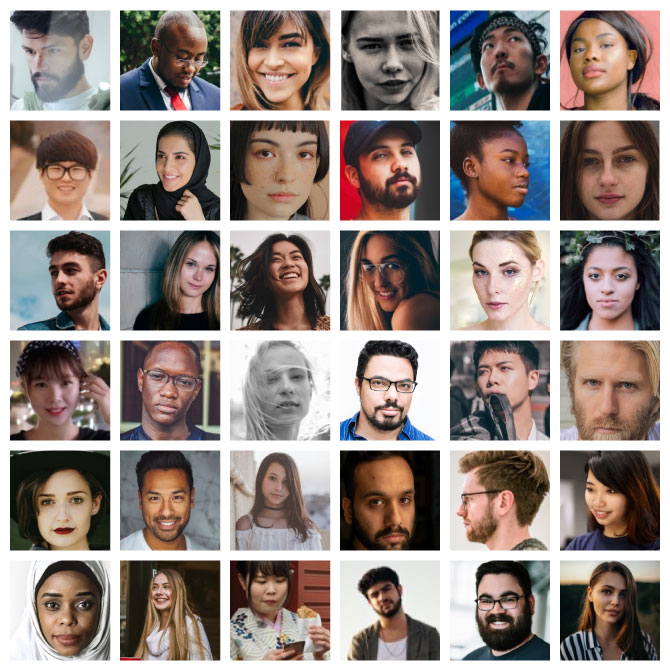 faces of non-native English speakers from all over the world in 36 squares